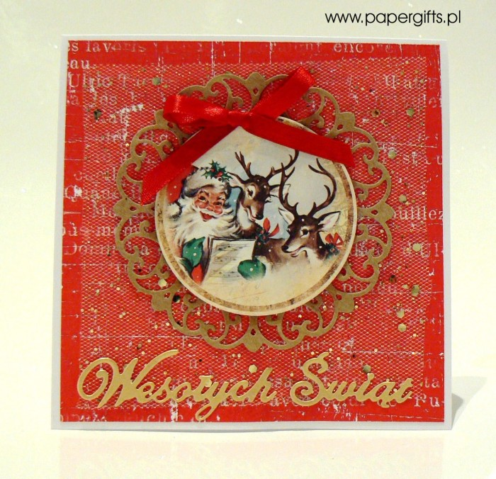 Mikołaj i renifery - czerwono-złota kartka bożonarodzeniowa