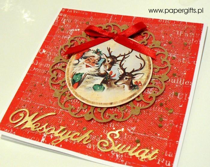 Mikołaj i renifery - czerwono-złota kartka bożonarodzeniowa1