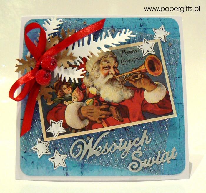 Mikołaj z prezentami - niebiesko-srebrna kartka bożonarodzeniowa