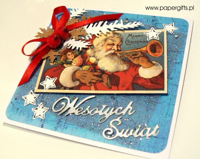 Mikołaj z prezentami - niebiesko-srebrna kartka bożonarodzeniowa1