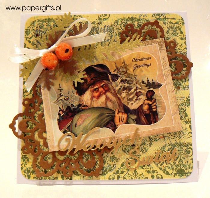 Mikołaj - zielono-brązowa kartka bożonarodzeniowa