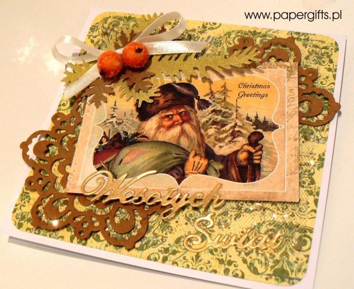 Mikołaj - zielono-brązowa kartka bożonarodzeniowa1