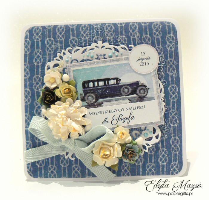 Niebieska z samochodem - kartka na urodziny Józefa