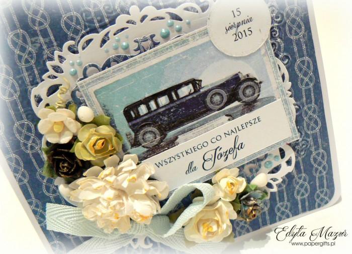 Niebieska z samochodem - kartka na urodziny Józefa1