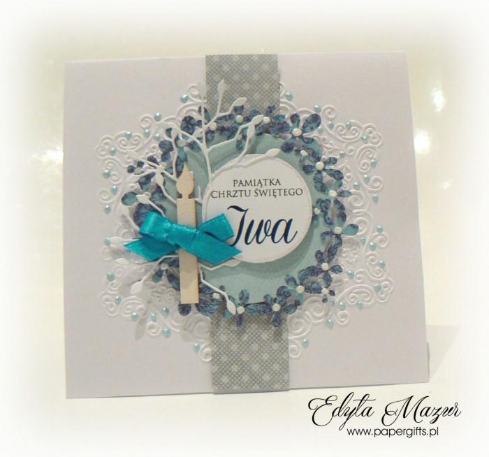 Niebieski wianek - Pamiątka chrztu Iwa