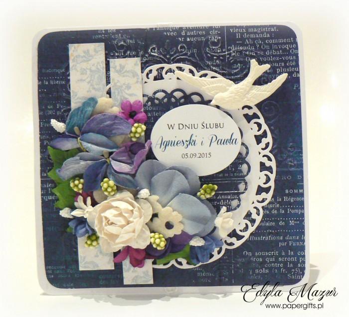 Niebiesko-biała kartka z ptaszkiem na ślub Agnieszki i Pawła