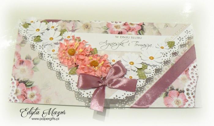 Pastelowa kopertówka ślubna ze stokrotkami dla Agnieszki i Tomasza