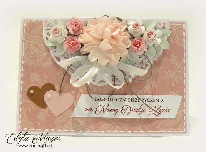 Pudrowy róż w beżowe motywy - kartka ślubna prostokątna