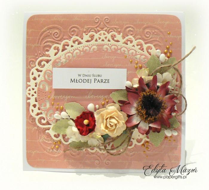 Pudrowy róż z kwiatem rudbekii - kartka ślubna