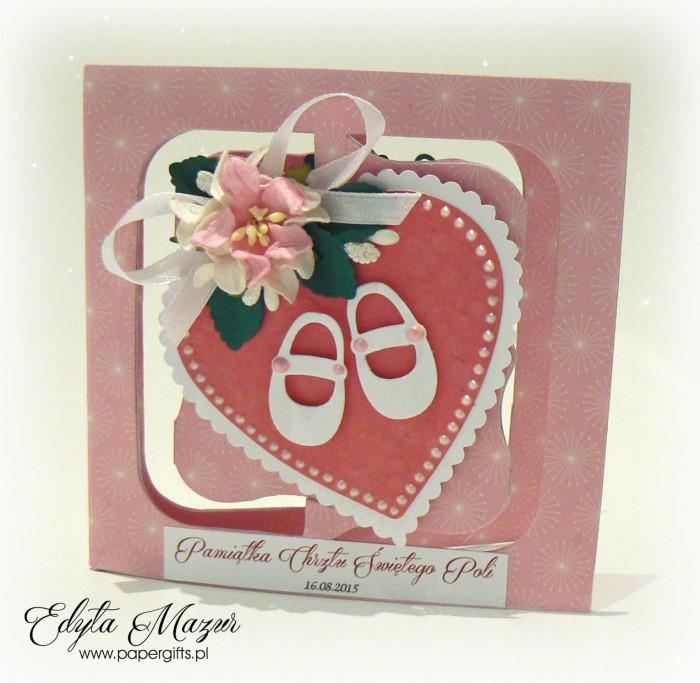 Różowe serce z bucikami Pamiątka Chrztu Poli