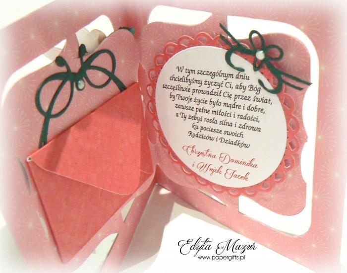 Różowe serce z bucikami Pamiątka Chrztu Poli1