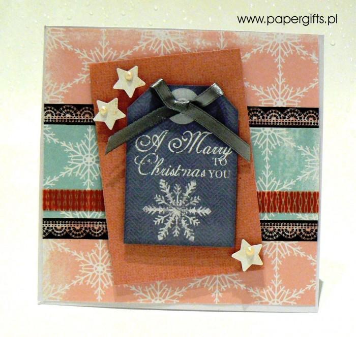 Różowo-błękitna ze śnieżynką - kartka bożonarodzeniowa