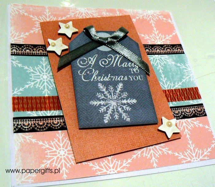 Różowo-błękitna ze śnieżynką - kartka bożonarodzeniowa1