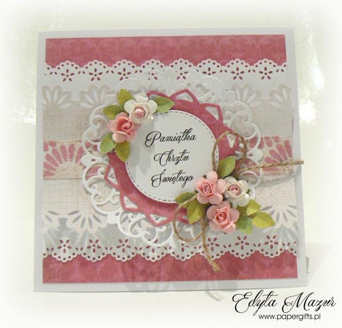 Różowo-biała z falbankami kartka na chrzest - etui na CD