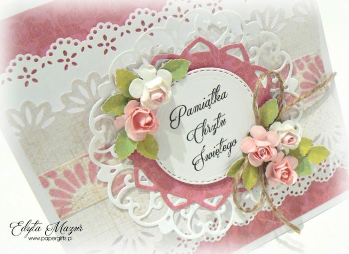 Różowo-biała z falbankami kartka na chrzest - etui na CD1