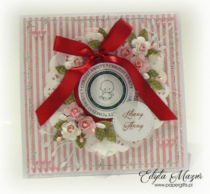Różowo-czerwona kartka na chrzest Jiliany
