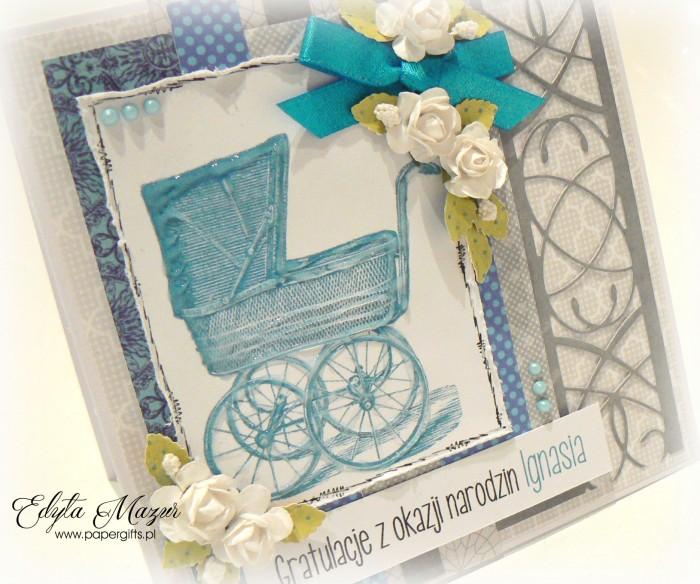 Szara z niebieskim wózkiem i różyczkami - Gratulacje z okazji narodzin Ignasia