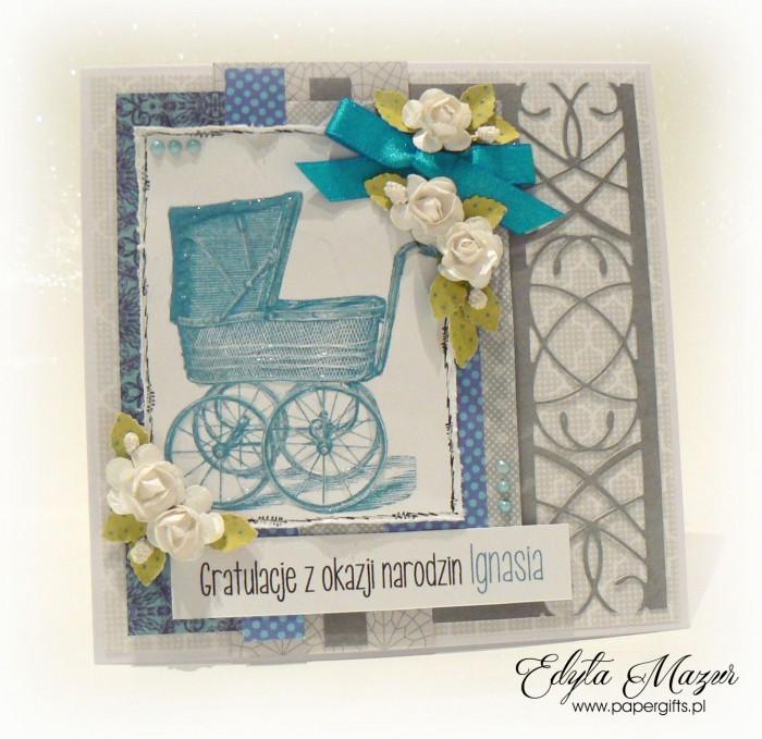 Szara z niebieskim wózkiem i różyczkami - Gratulacje z okazji narodzin Ignasia1