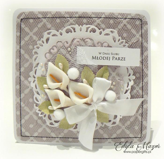 Szaro-biała z liliami - kartka ślubna