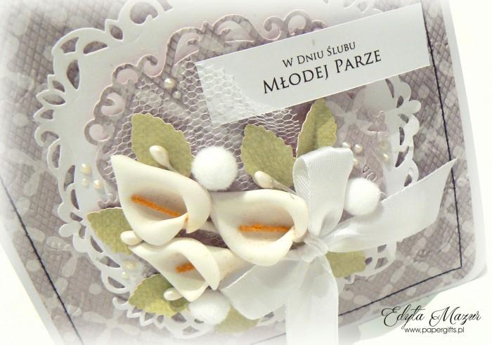 Szaro-biała z liliami - kartka ślubna1