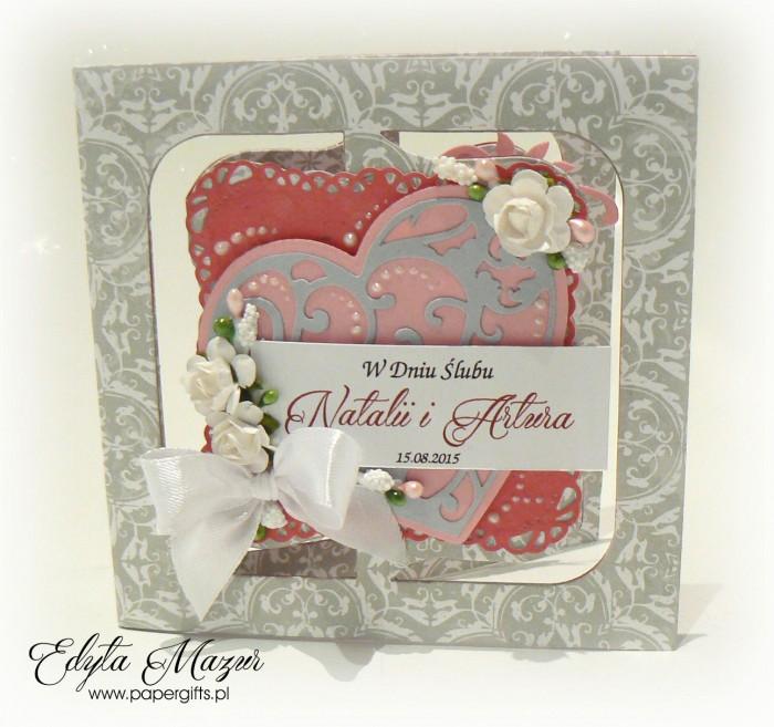 Szaro-różowa kartka na ślub Natalii i Artura