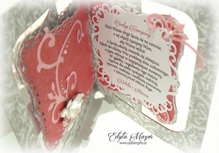 Szaro-różowa kartka na ślub Natalii i Artura1