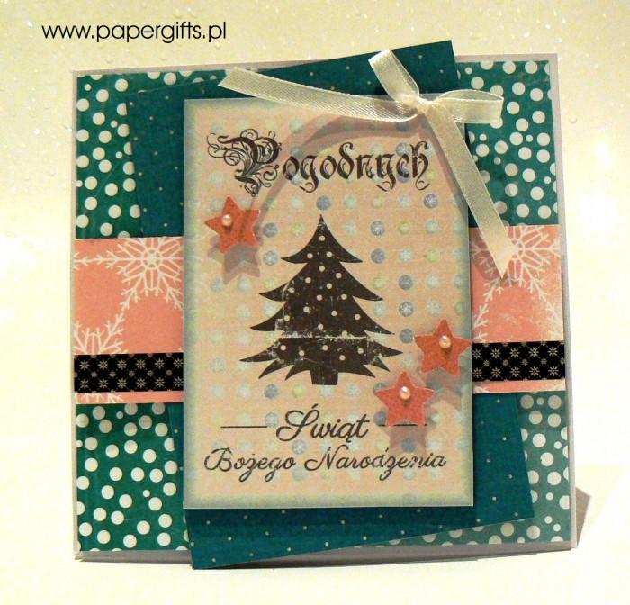 Turkusowa z choinką - kartka bożonarodzeniowa