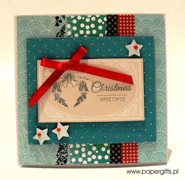 Turkusowa z wiankiem - kartka bożonarodzeniowa