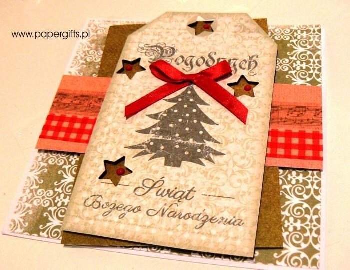 Zielona z choinką - kartka bożonarodzeniowa1