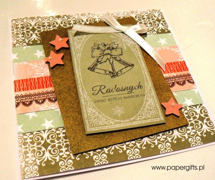 Zielona z dzwonkami - kartka bożonarodzeniowa1