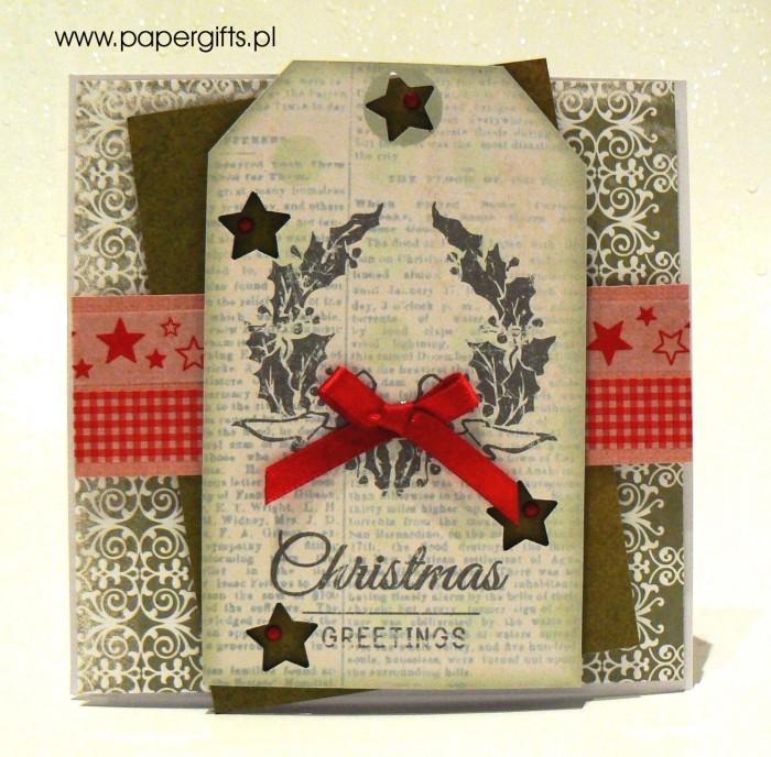 Zielona z wiankiem - kartka bożonarodzeniowa