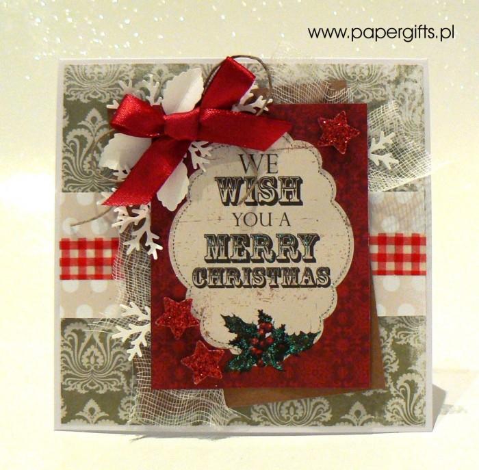 Zielono-beżowa z ostrokrzewem - kartka bożonarodzeniowa
