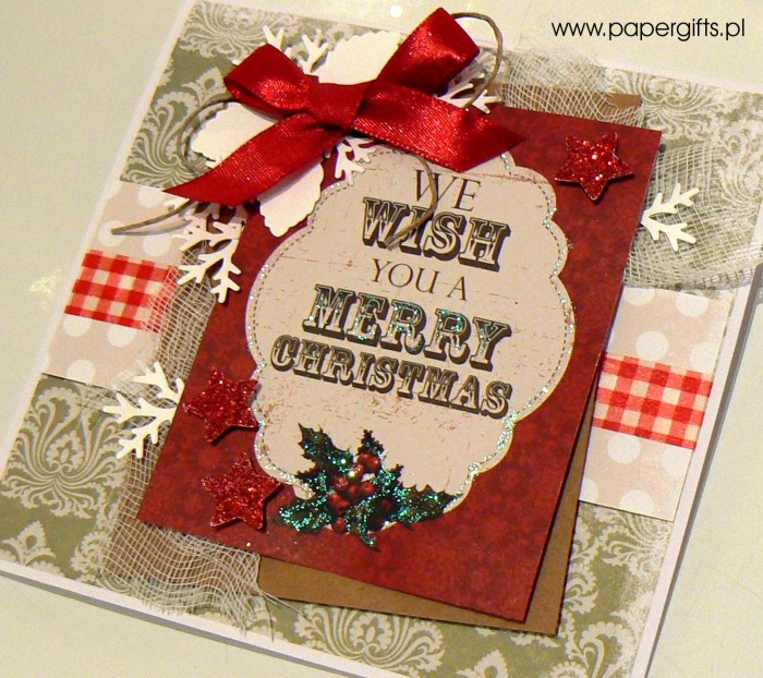 Zielono-beżowa z ostrokrzewem - kartka bożonarodzeniowa1