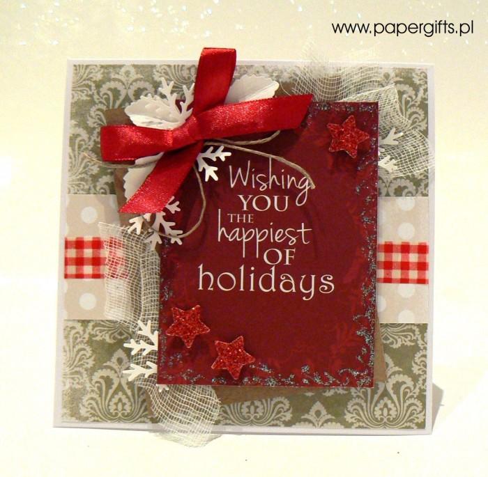 Zielono-czerwona - kartka bożonarodzeniowa