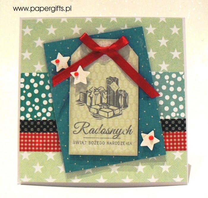 Zielono-turkusowa z prezentami - kartka bożonarodzeniowa