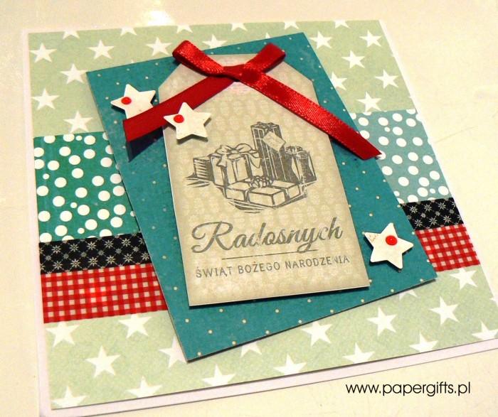 Zielono-turkusowa z prezentami - kartka bożonarodzeniowa1