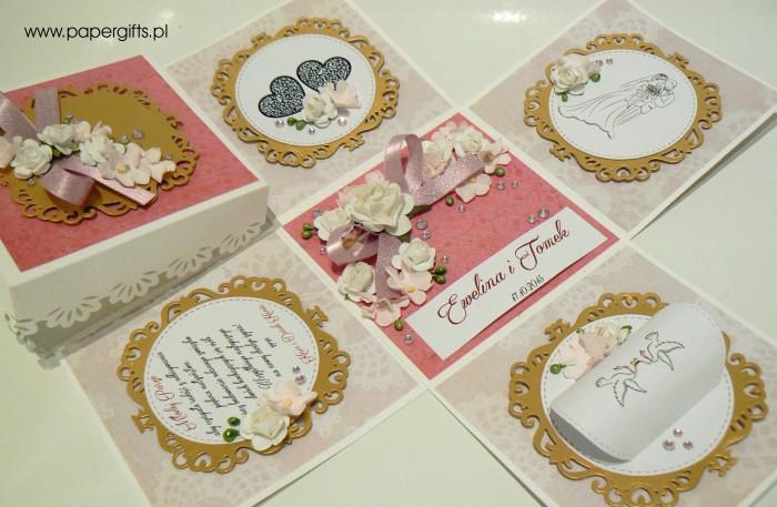 Beżowo-różowo- złoty box śluny dla Eweliny i Tomka