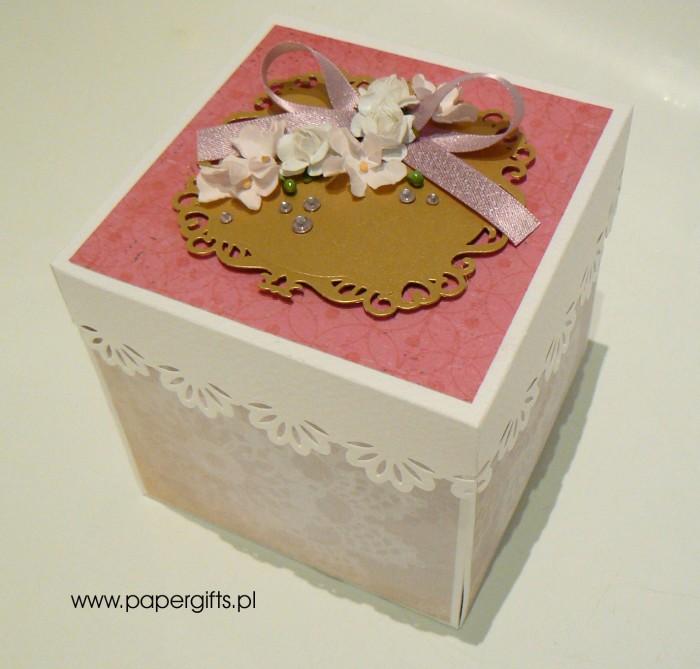 Beżowo-różowo- złoty box śluny dla Eweliny i Tomka1