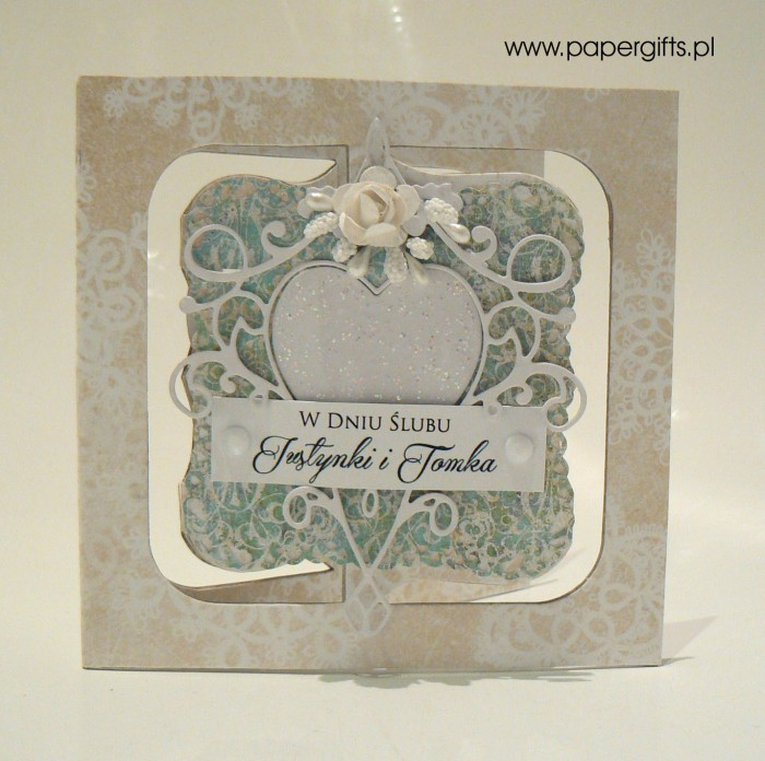 Białe serce na zielonym tle - Kartka na ślub Justyny i Tomka