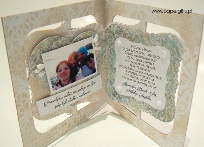 Białe serce na zielonym tle - Kartka na ślub Justyny i Tomka1