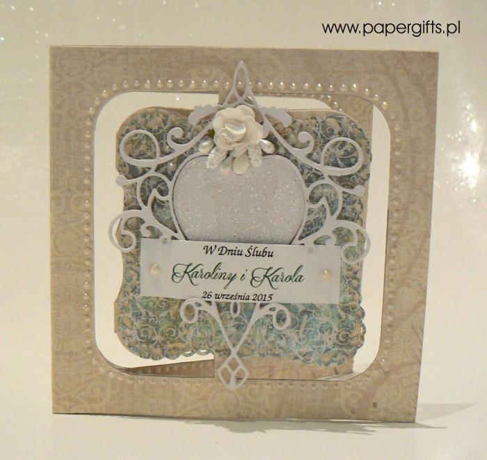Białe serce na zielonym tle - Kartka na ślub Karoliny i Karola