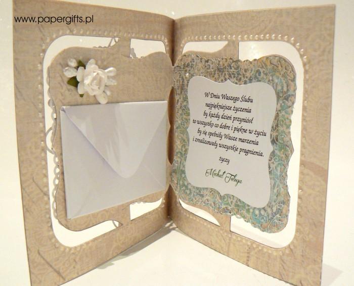 Białe serce na zielonym tle - Kartka na ślub Karoliny i Karola1