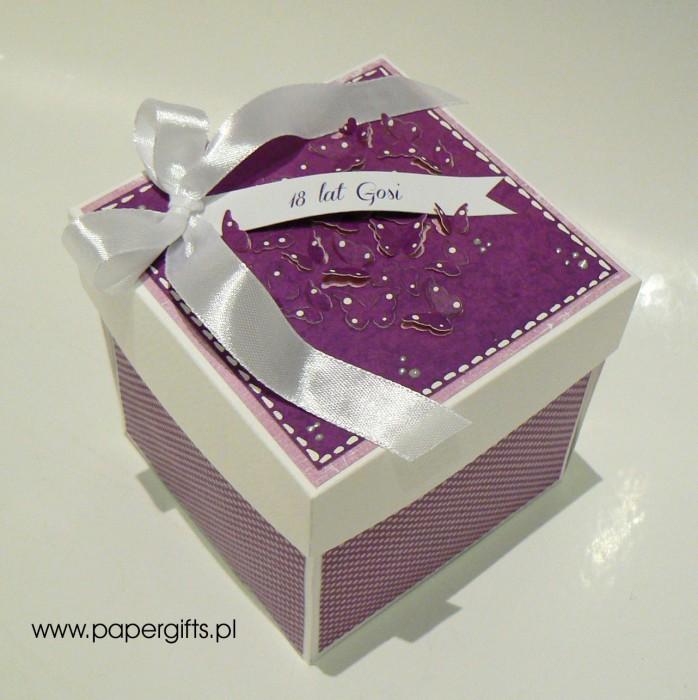 Fioletowy z motylkami box na 18 Gosi