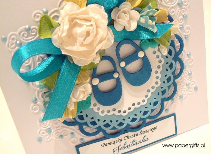 Niebieskie buciki - Pamiątka Chrztu Sebastianka1