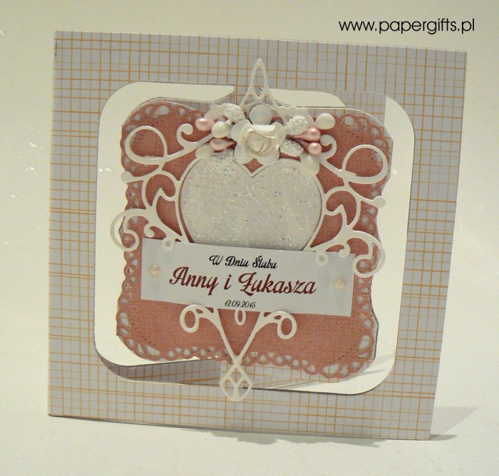 Różowa z sercem - kartka ślubna dla Anny i Łukasza