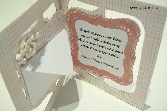 Różowa z sercem - kartka ślubna dla Anny i Łukasza1