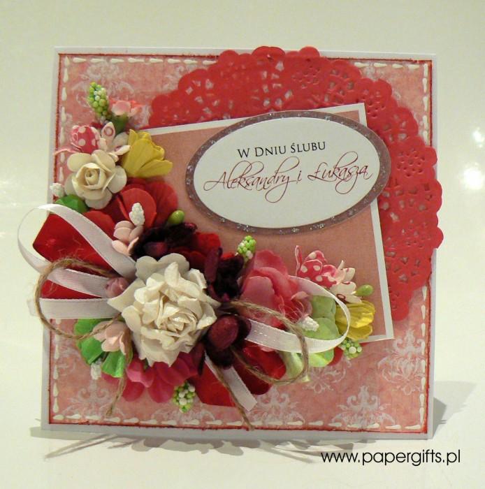 Różowo-biały bukiet - kartka ślubna dla Aleksandry i Łukasza