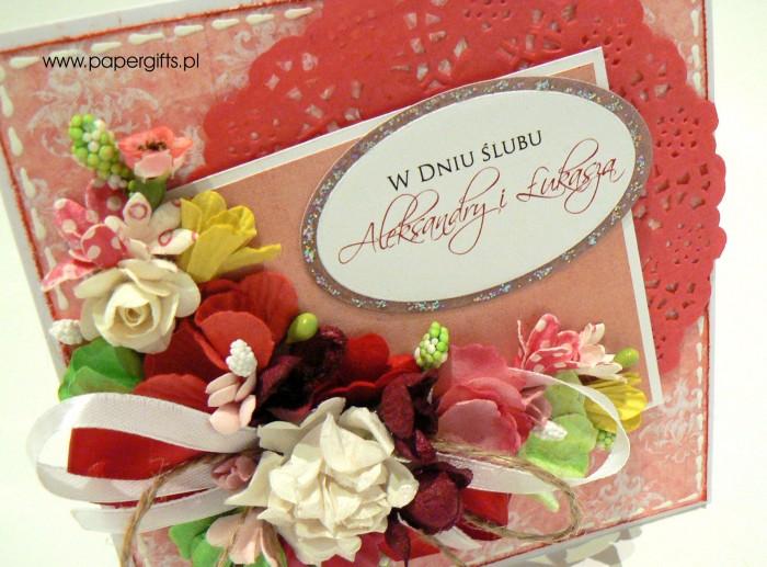Różowo-biały bukiet - kartka ślubna dla Aleksandry i Łukasza1