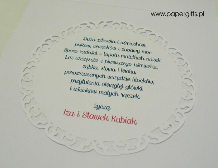 Turkusowo-różowa z gwiazdkami i misiem - narodziny Helenki1