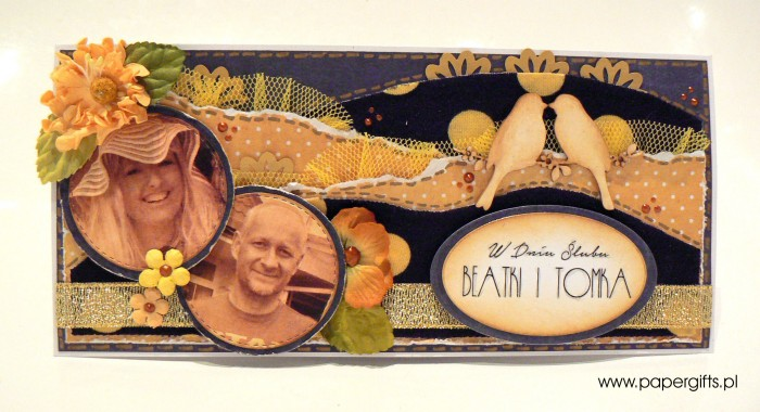 Zółto-granatowa w stylu retro - kartka ślubna dla Beaty i Tomka